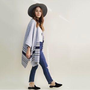 GAP Gray Striped Poncho Sweater